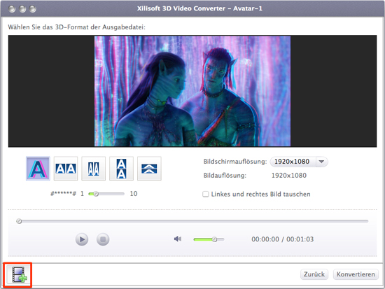 Xilisoft 3D Video Converter Mac, 2D in 3D umwandeln Mac