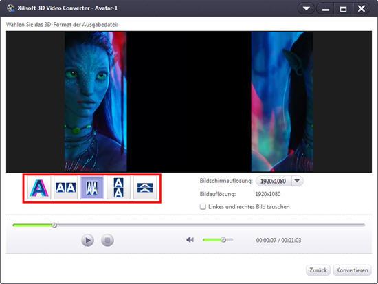 Xilisoft 3D Video Converter, 3D Typ verändern