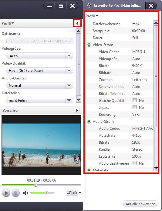 HD Videos/High Definition Videos umwandeln