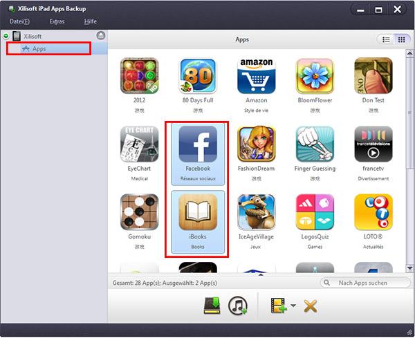 xilisoft ipad apps backup anleitung apps von ipad auf pc itunes oder von pc zum ipad kopieren. Black Bedroom Furniture Sets. Home Design Ideas