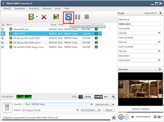MKV Videodateien umwandeln