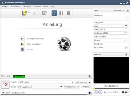 Video in SWF Format umwandeln Gebrauchsanleitung