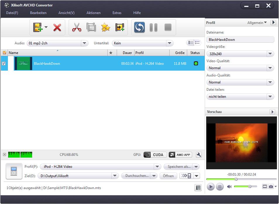 Xilisoft AVCHD Converter - AVCHD Formate umwandeln