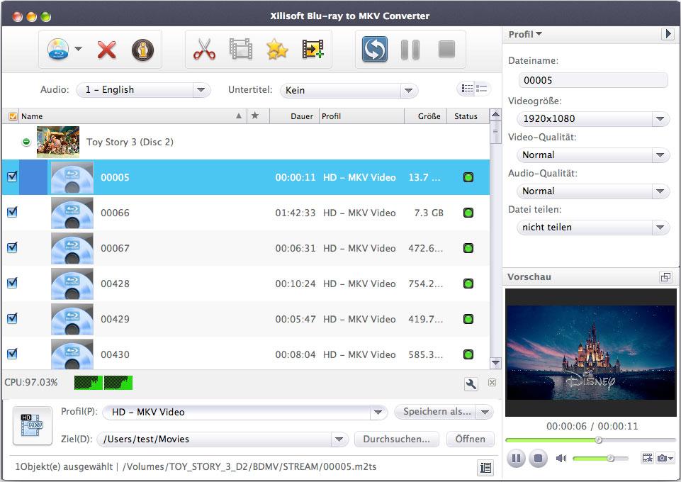 Xilisoft Blu-ray to MKV Converter Mac - Blu-ray in MKV konvertieren Mac