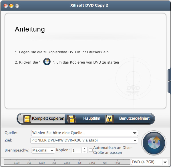 Xilisoft DVD Copy for Mac - DVD Kopieren auf Mac