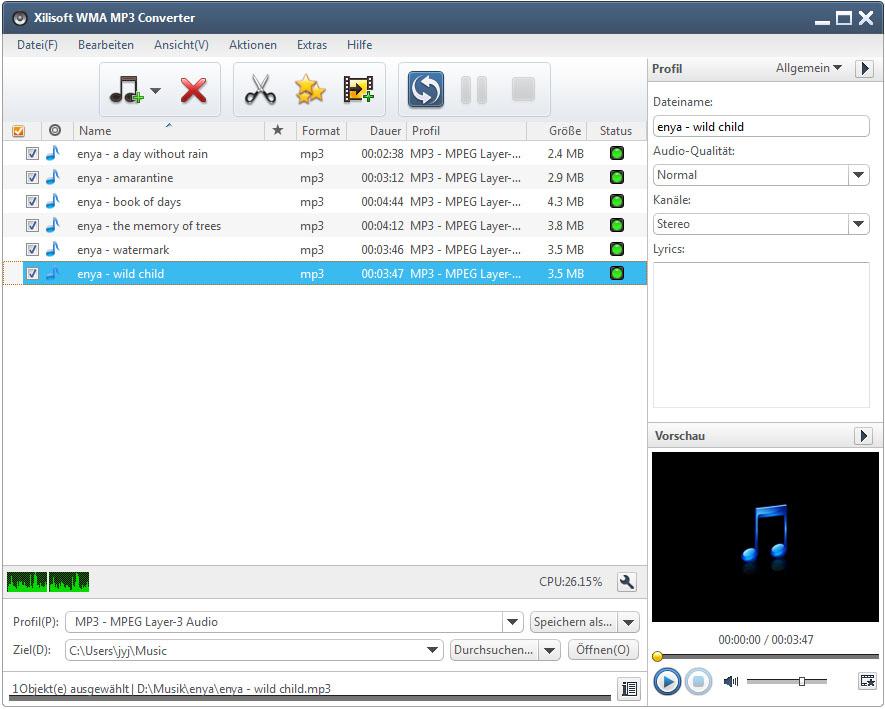Xilisoft WMA MP3 Converter - WMA in MP3 umwandeln, MP3 in WMA umwandeln